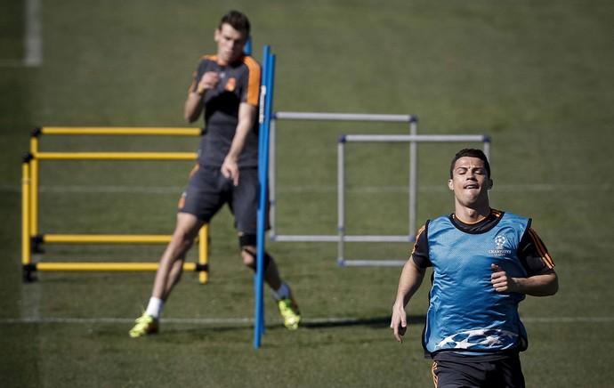 Cristiano Ronaldo treino do real madrid (Foto: EFE)