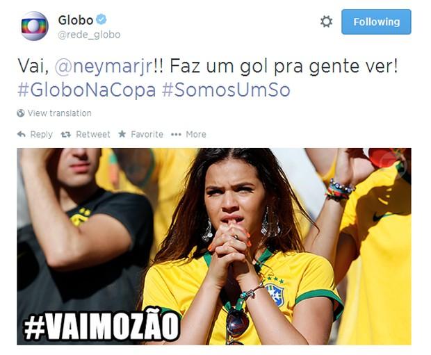 Bruna Marquezine apoiou o namorado Neymar durante os jogos da seleção (Foto: Reprodução/Twitter)