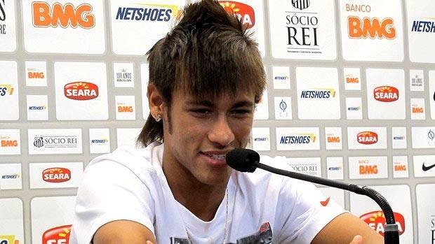 Neymar, coletiva, Santos (Foto: Lincoln Chaves)