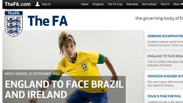 Reprodução site federação inglesa de futebol confirma amistoso com BRasil (Foto: Reprodução)