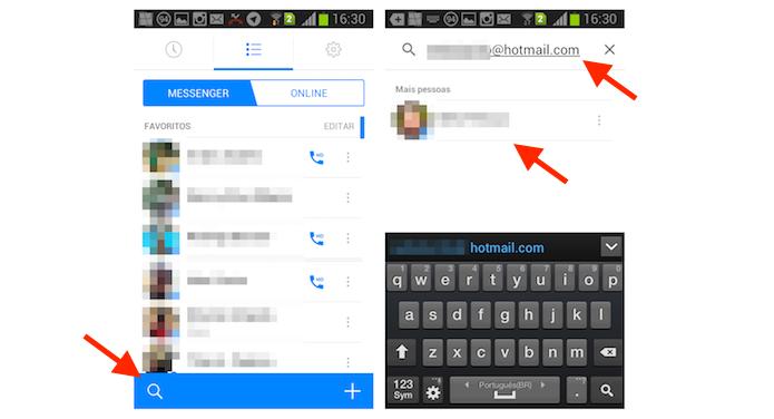 Encontrando um amigo através do endereço de e-mail no Facebook Messenger para Android (Foto: Reprodução/Marvin Costa)