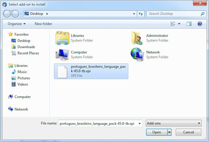 Instalando o pacote de idiomas (Foto: Reprodução/Helito Bijora)