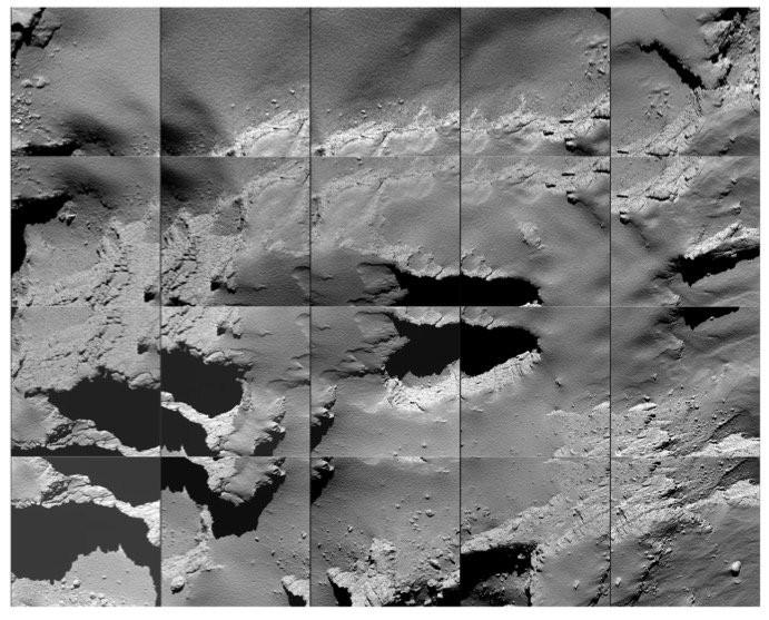 Sequência de imagens captadas por Rosetta ao se aproximar da superfície do cometa 67P/C-G  (Foto: ESA/Rosetta/MPS)