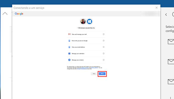 Google perguntará se usuário autoriza o acesso do Windows 10 à agenda (Foto: Reprodução/Elson de Souza)