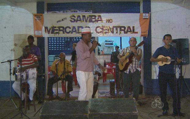 Dia do Samba no Mercado Central em Macapá (Foto: Reprodução/TV Amapá)