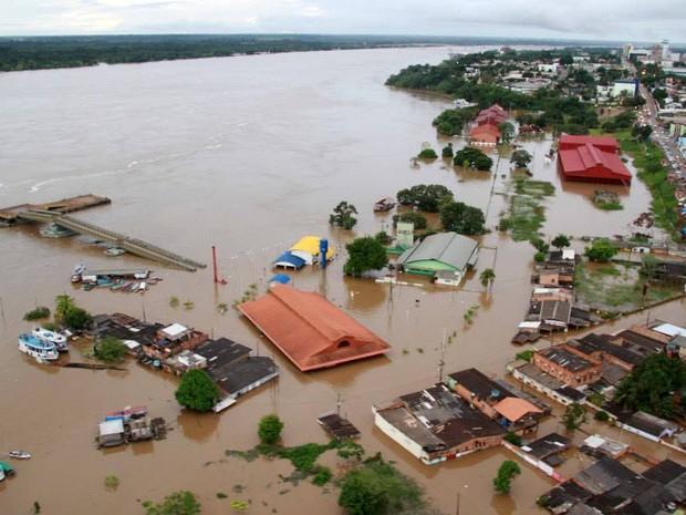 RO rio madeira Porto Cai n'Água está foi coberto pela água do Rio Madeira  (Foto: Decom/Divulgação)