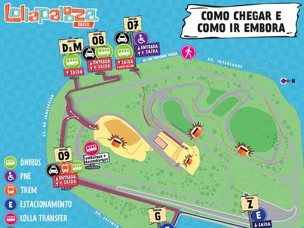 Mapa mostra como chegar e ir embora do festival Lollapalooza (Foto: Divulgação/Lollapalooza)