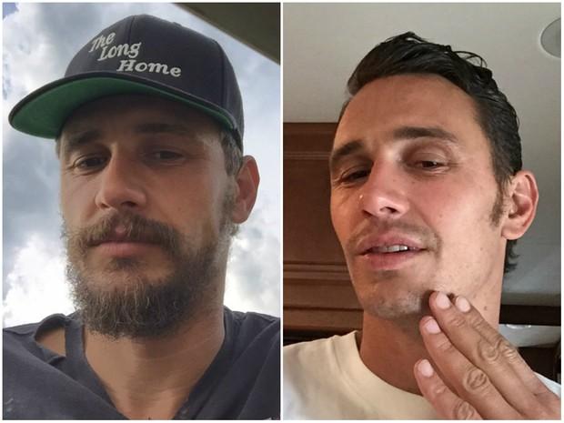 Antes e depois de James Franco (Foto: Reprodução/Instagram)