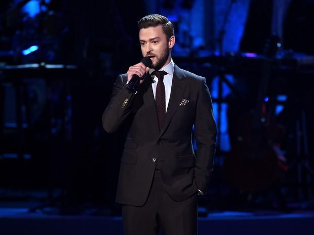 Justin Timberlake em premiação esportiva em Los Angeles, nos Estados Unidos (Foto: Kevin Winter/ Getty Images/ AFP)