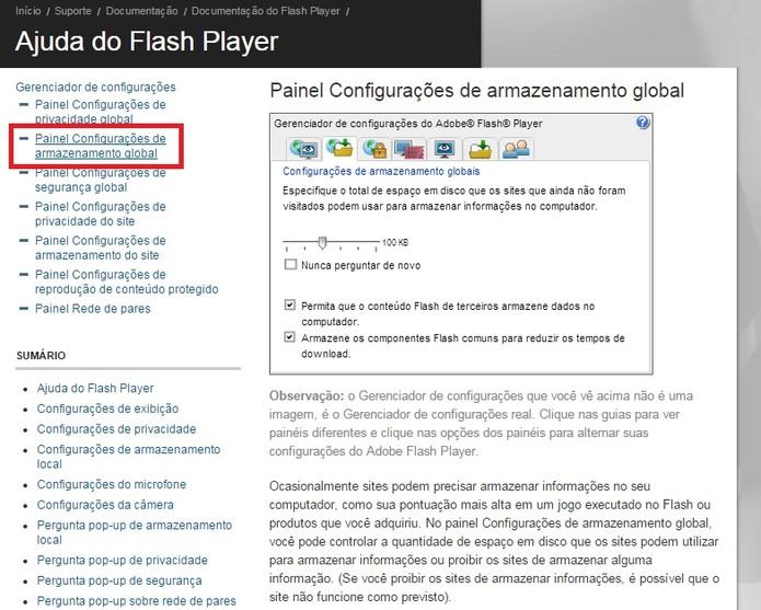 Selecione Painel Configurações de armazenamento global (Foto: Reprodução/Flash Player)