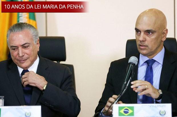O presidente Michel Temer e o ministro da Justiça, Alexandre de Moraes, durante o anúncio da criação do núcleo (Foto: Marcelo Camargo/Agência Brasil)