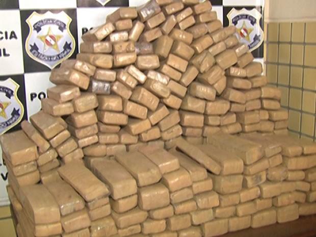Droga foi apreendida no quilômetro 145 da Rodovia Santarém Cuiabá, BR-163. (Foto: Reprodução/TV Tapajós)