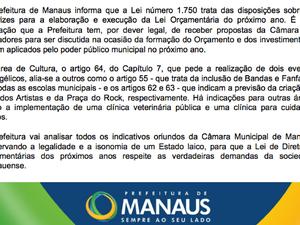 Prefeitura de Manaus se manifestou por meio de nota (Foto: Reprodução/Facebook)