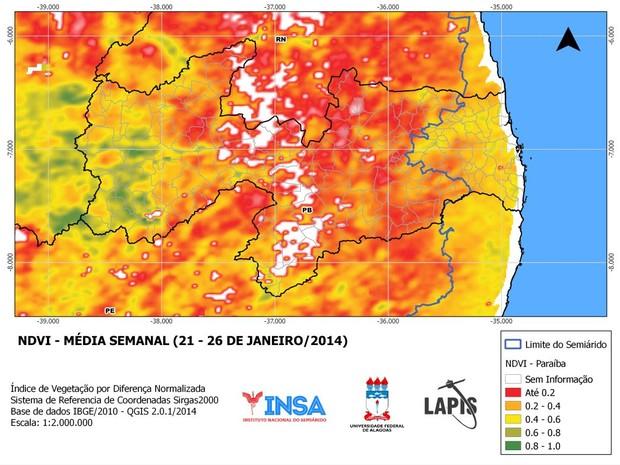 NDVI monitora situação do solo paraibano (Foto: Reprodução/Insa)
