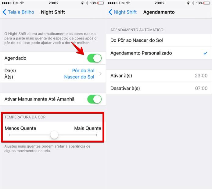 Configurando o modo noturno do iOS 9.3 (Foto: Reprodução/Helito Bijora)