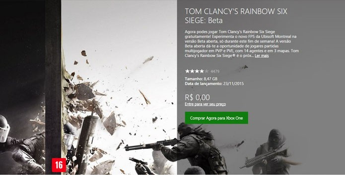 Tela do game na Xbox LIVE Marketplace (Foto: Reprodução/André Mello)