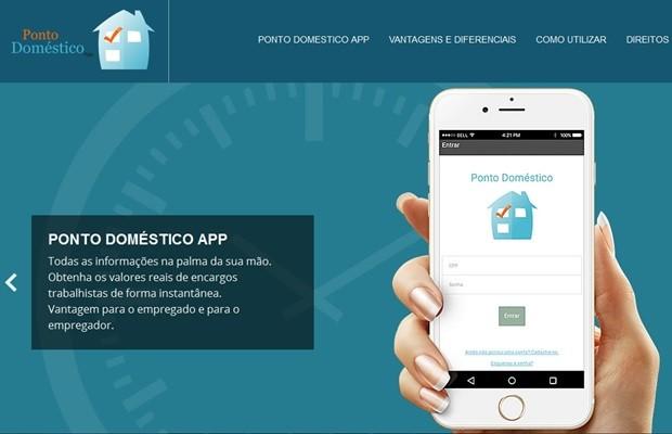 Aplicativo 'Ponto Doméstico' permite controle de expediente de empregados domésticos (Foto: Reprodução/Ponto Doméstico)