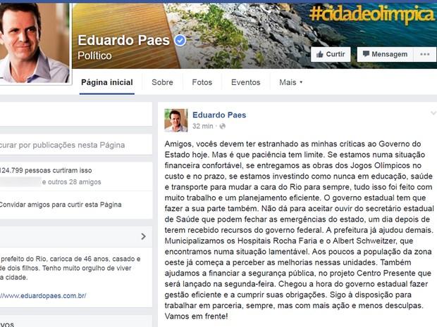 Prefeito Eduardo Paes usou rede social para justificar críticas ao governo do estado (Foto: Reprodução/Facebook)