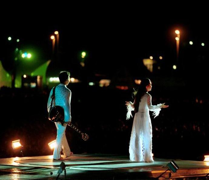 Sandy e Junior no show no Rock In Rio (Foto: Arquivo pessoal)