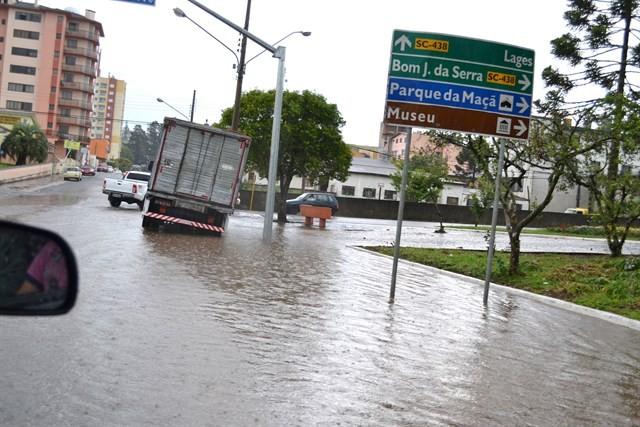 Cidade teve chuva e vento forte após recorde de temperatura (Foto: Dionata Costa/São Joaquim Online)