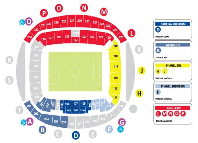 RN - Mapa de ingressos para América-RN x ABC - final estadual - Arena das Dunas (Foto: Reprodução)