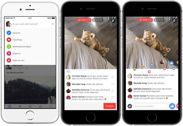Facebook Live permite inclusão das 'reações', botões alternativos ao 'curtir' (Foto: Divulgação/Facebook)