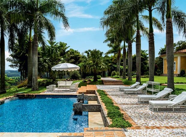 Plantadas em linha, as enormes palmeiras imperiais criam uma imponente divisão entre a casa e a piscina. Próximo à margem, um canteiro com rosinha-de-sol (Foto: Edu Castello/Editora Globo)