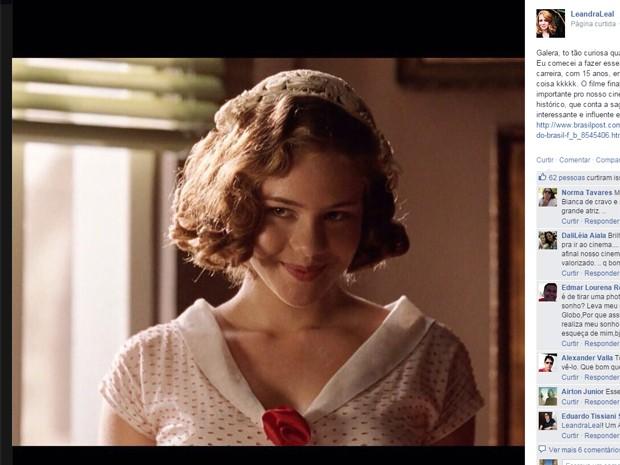 Leandra Leal fala sobre o filme 'Chatô', que foi gravado quando ela tinha 13 anos (Foto: Reprodução/Facebook)