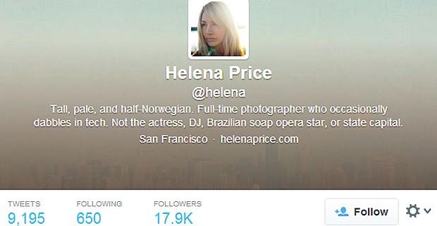 O TWITTER DE HELENA PRICE (Foto: Reprodução / Twitter)