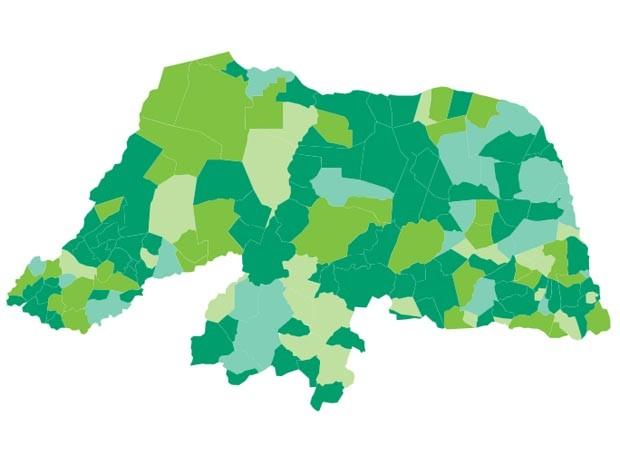 Mapa mostra municípios em que cada candidato venceu (Foto: Arte/G1)