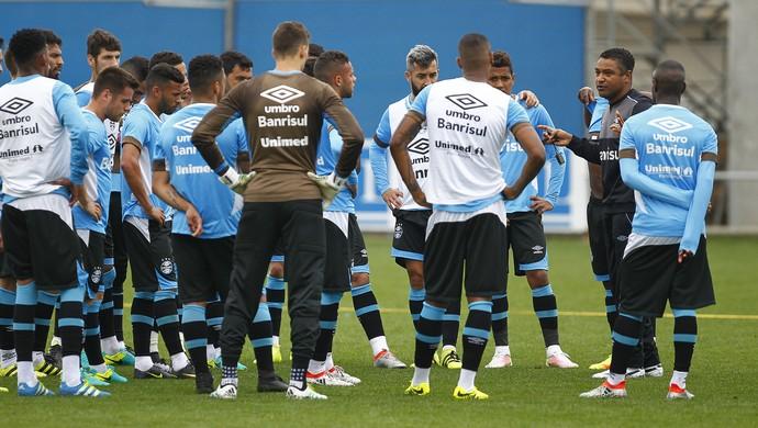 Grêmio, grupo, Roger, jogadores (Foto: Lucas Uebel / Grêmio / Divulgação)