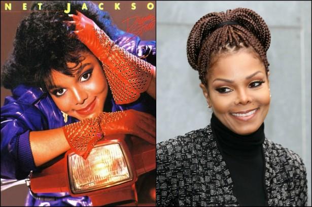 Janet Jackson já havia aparecido na televisão, fazendo pontas em séries e no famoso videoclipe de 'Thriller', de seu irmão mais velho, Michael Jackson (1958-2009). Nos anos 80, porém, a moça entrou de vez para a cultura adolescente: começou a lançar discos regularmente (este da foto à esquerda é seu segundo de estúdio, 'Dream Street', de 1984) e estrelou, por exemplo, dez episódios da série 'Diff'rent Strokes' (conhecida no Brasil como 'Minha Família é uma Bagunça' e 'Arnold'). Depois de passar parte dos anos 90 rivalizando diretamente com Madonna, a caçula dos Jacksons chega aos dias de hoje, com 48 anos, como a 11ª cantora mais bem sucedida comercialmente na história da indústria fonográfica dos EUA. (Foto: Reprodução e Getty Images)