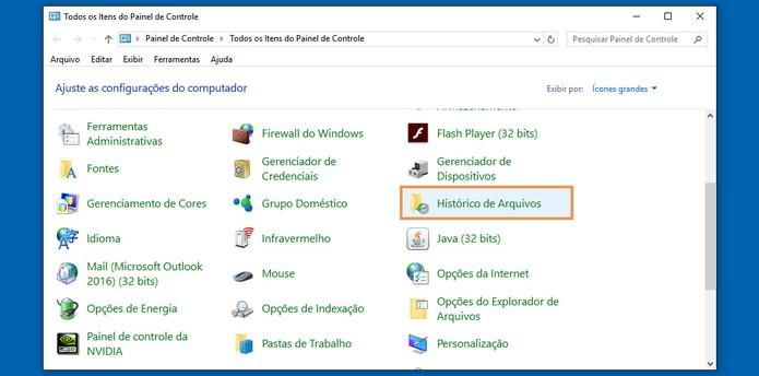 Abra o histórico de arquivos no Painel de Controle do Windows (Foto: Reprodução/Barbara Mannara)