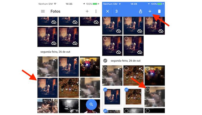 Selecionando as imagens que serão utilizadas na colagem do Google Photos para iPhone (Foto: Reprodução/Marvin Costa)