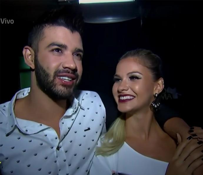 Gusttavo Lima e Andressa Suita recebem 'Vídeo Show' em gravação de DVD (Foto: Vídeo Show / TV Globo)