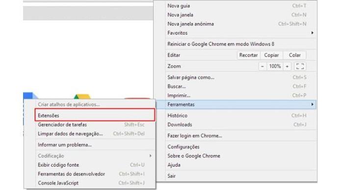 Abra a lista de extensões do Chrome (Foto: Reprodução/Paulo Alves)