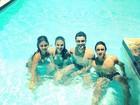 Bruna Marquezine grava 'Em Família' na piscina