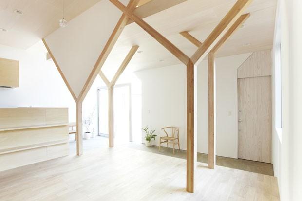 Os pilares em  Y' do lar japonês Casa Vogue Arquitetura ~ Quarto Tipico Japones