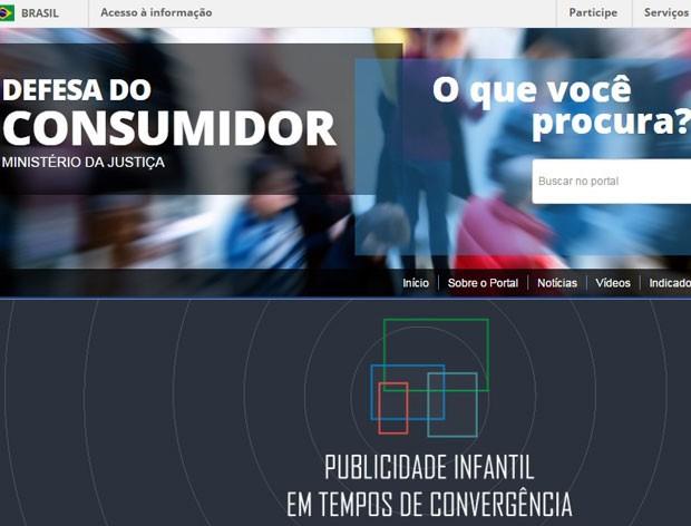 Portal de Defesa do Consumidor lançado pelo Ministério da Justiça (Foto: Reprodução)