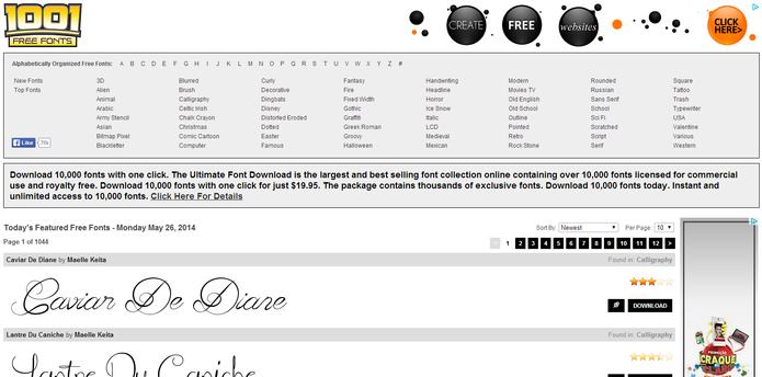 1001 Free Fonts (Foto: Reprodução/ Marcela Vaz)