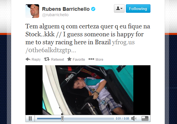 Pelo Twitter, Rubens Barrichellho mostra a  curtição do filho dentro de um Stock car (Foto: Reprodução Twitter)