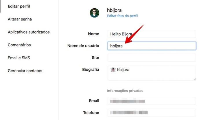 Editando nome de usuário (Foto: Reprodução/Helito Bijora)