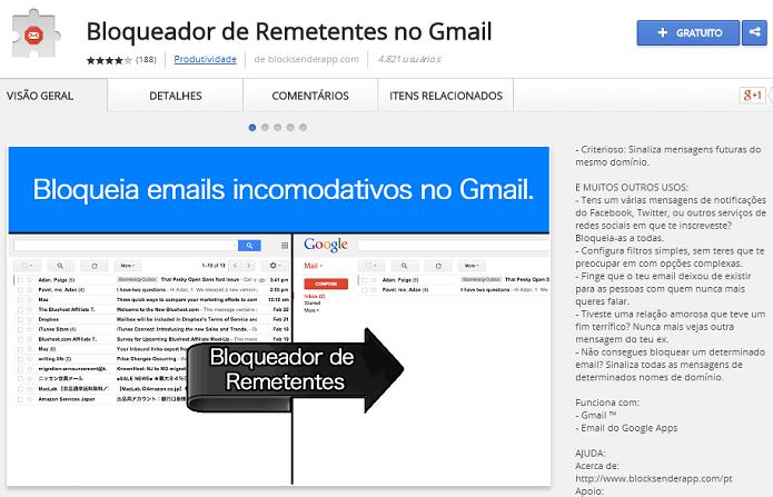 Bloqueador de emails funciona só no Chrome e com o Gmail (Foto: Divulgação/Blocker Sender App) (Foto: Bloqueador de emails funciona só no Chrome e com o Gmail (Foto: Divulgação/Blocker Sender App))