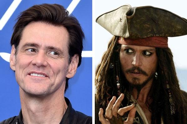 O ator Jim Carrey, e Johnny Depp como Jack Sparrow (Foto: Getty Images/Reprodução)