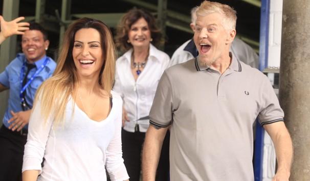 Cleo Pires gravou a vinheta com Miguel Falabella (Foto: Rafael França/ TV Globo)