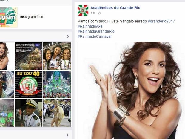 Ivete será enredo do Carnaval da Grande Rio (Foto: Reprodução/Facebook)