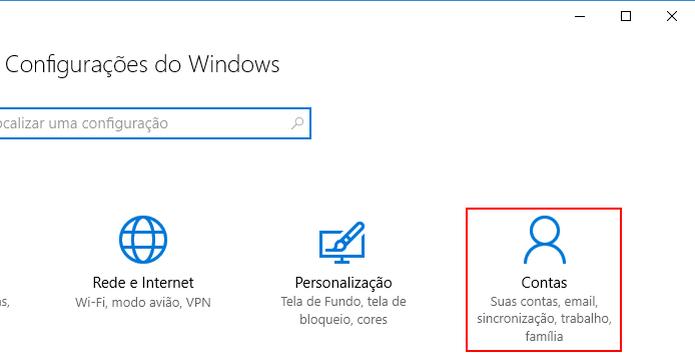 """Acessando a opção """"Contas"""" nas configurações do Windows  (Foto: Reprodução/Edivaldo Brito)"""