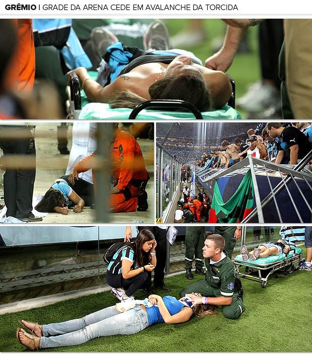 Galeria torcida Grêmio queda avalanche (Foto: Editoria de Arte / Globoesporte.com)