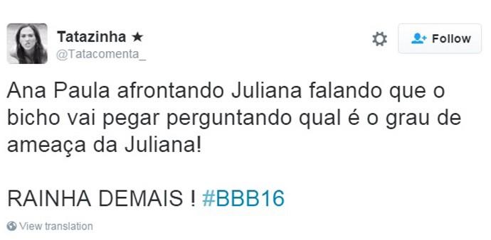 Ana Paula voltando ao BBB16 (Foto: Reprodução Internet)