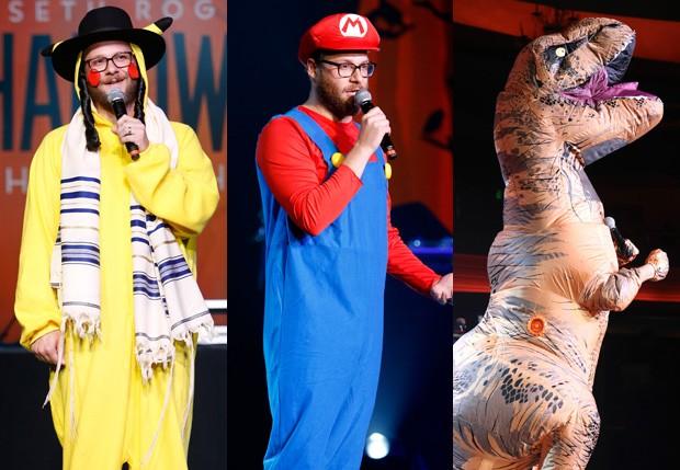 Seth Rogen vestido de Pikachu, Mario e Tiranossauro Rex (Foto: Randy Shropshire/Getty Images)